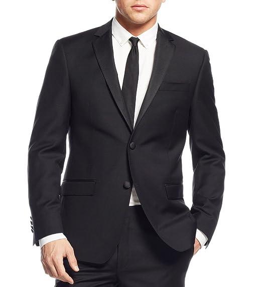 3b2d29e2e5e7 DKNY Extra Slim Fit Men's Suit 2 Piece 100% Wood Solid Black Tuxedo (44