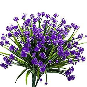 HOONAO 4pcs Artificial Fake Flowers,Faux Purple Daffodils Outdoor Greenery Plants Shrubs Plastic Bushes Indoor Outside Hanging Planter Home Garden Decoration 30