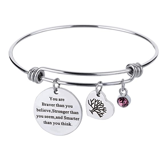 Monily Birthstone Inspirational Expandable Wire Bracelet Stainless Steel Always My Sister Forever My Friend Charm Bangle Set for Women