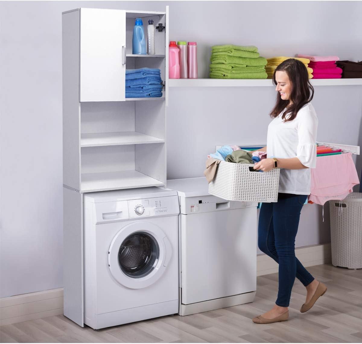 ECD Germany Mueble de lavadora - Blanco - 62,5 x 25 x 190 cm - Armario de baño para lavadora secadora Aseo WC - Estante aglomerado común