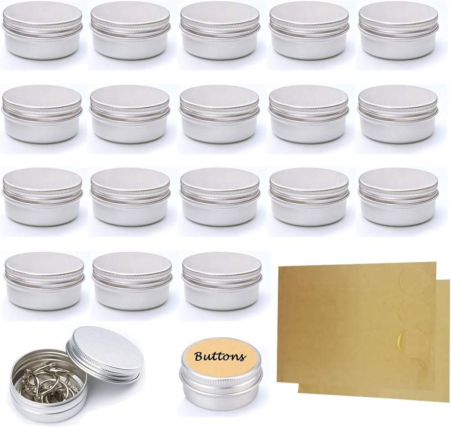 20 Pcs 15 ml, tarros vacíos de Aluminio Plateado, Recipiente de cosmética para muestras de bálsamos labiales o cosméticos, Cierre de Rosca