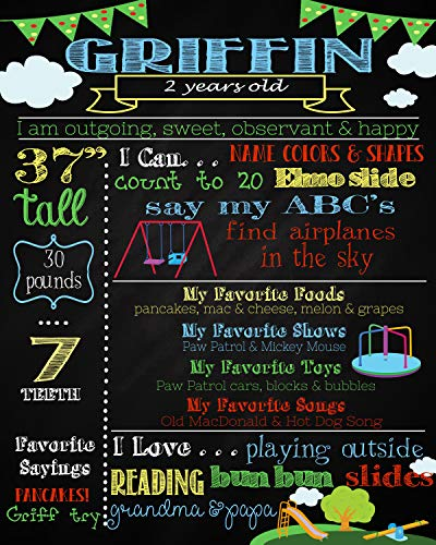Dozili Personalized First Birthday Chalkboard, Printable Sign, Park Theme Birthday, Playground Chalkboard, Playground Theme Party, Park Theme -