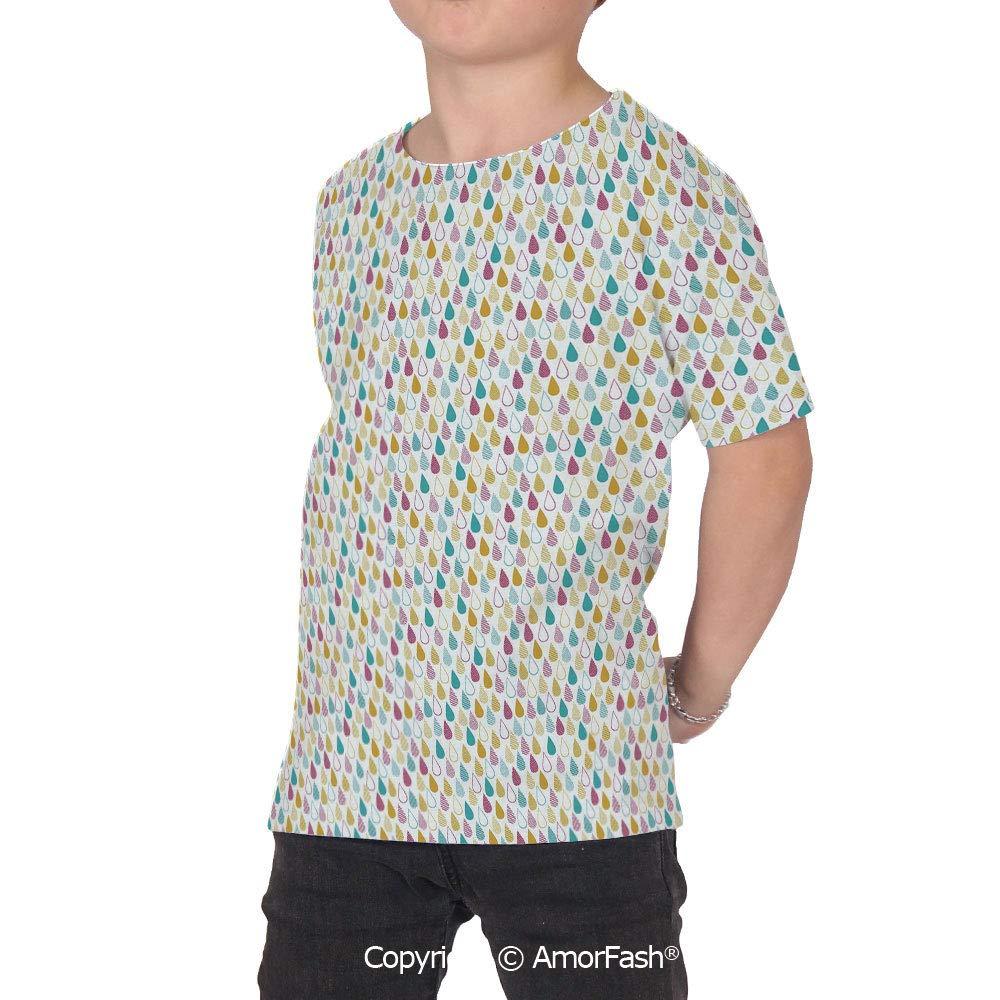 Abstract Girls Short-Sleeve Midweight T-Shirt,Polyester,Ornamental Pattern Rain
