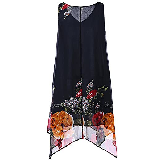 ROYAL WIND Plus Size V Neck Floral Handkerchief Dress at ...