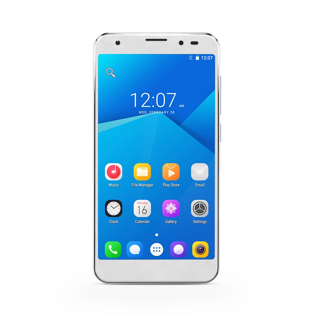 YUNTAB 2018 S505 Android 6.0 Unlocked Smartphone 4G LTE Quad-core 2GB / 32GB 5 Inch Touchscreen HD 720 x 1280 Dual SIM Slots Cellphone with Dual Camera GPS (White)