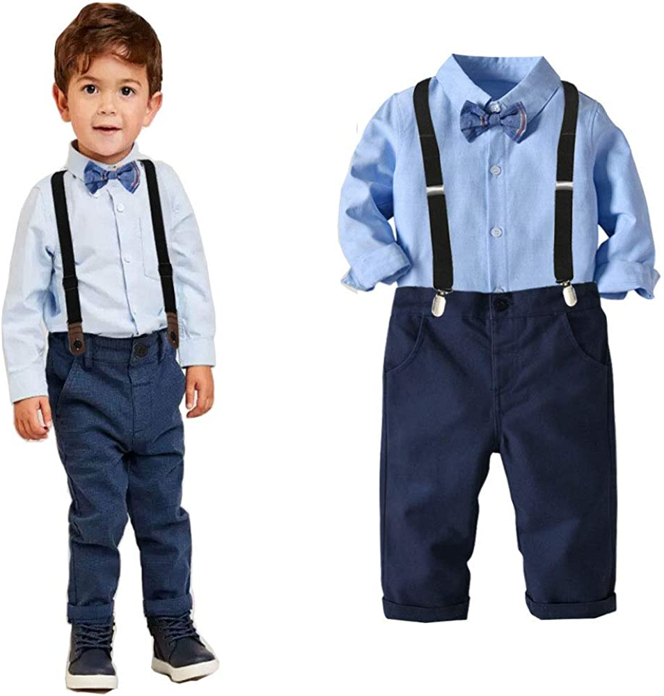 Easter Boys Clothes Sets Toddler Boy Outfits Gentleman Suits 2pcs Bow Tie Shirts and Suspenders Pants
