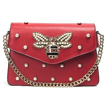Handtasche neu rot mit Biene und Perlen