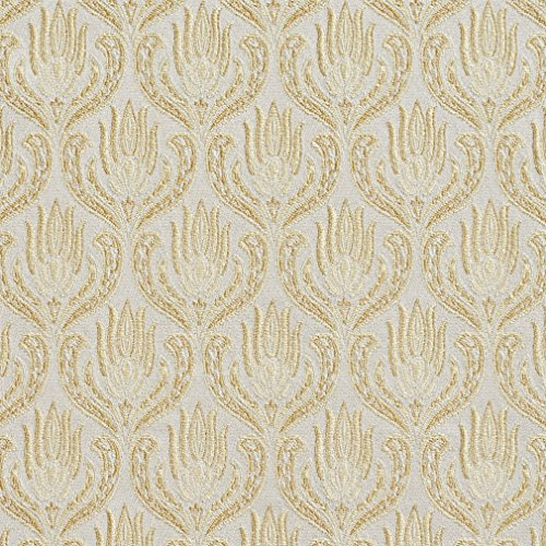 Gold and White Ornate Oriental Heirloom Foliage Brocade Upholstery Fabric by the yard