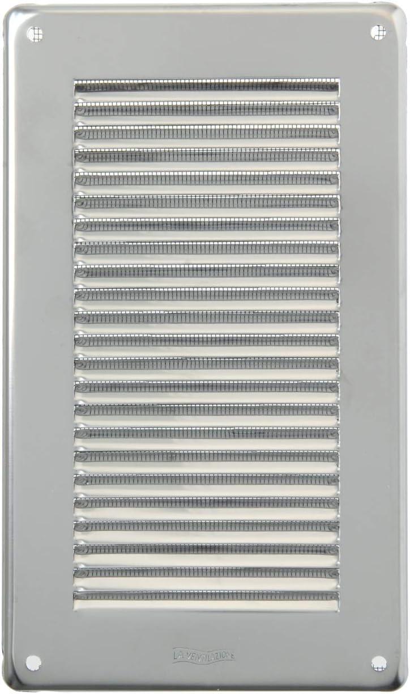 tama/ño 140 x 240 mm La Ventilazione GIN1424R Rejilla de ventilaci/ón inoxidable 430 rectangular con red antiinsectos