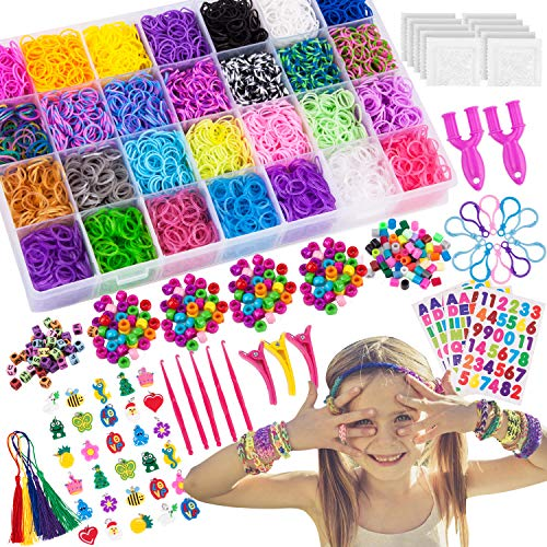 VENSEEN 11900+ Rainbow Rubber Bands Bracelet Making Kit, 11000 Loom Bands, 600 S-Clips, 252 Beads, 30 Charms, 10 Backpack Hooks, 5 Tassels, 5 Crochet Hooks, 4 Stickers,3 Hair Clips, 2 Y Looms