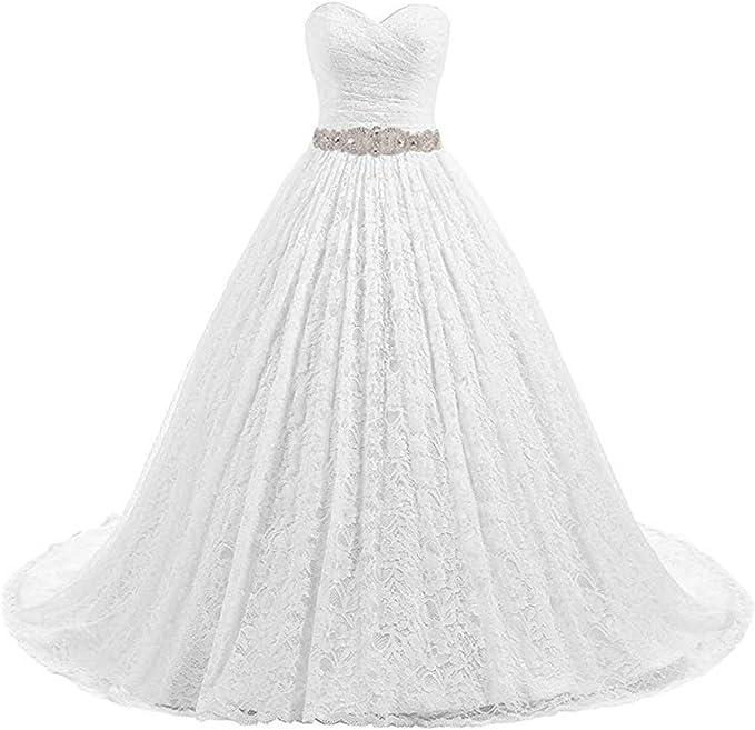 Amazon.com: Beautyprom - Vestido de novia de encaje para ...
