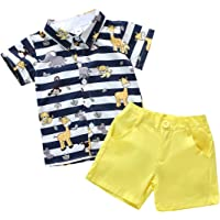 Toddler Little Boy Kids Summer Outfits Stripe Animal Print Polo Tops Shirt Bermuda Solid Color Shorts Pants Clothes Sets…