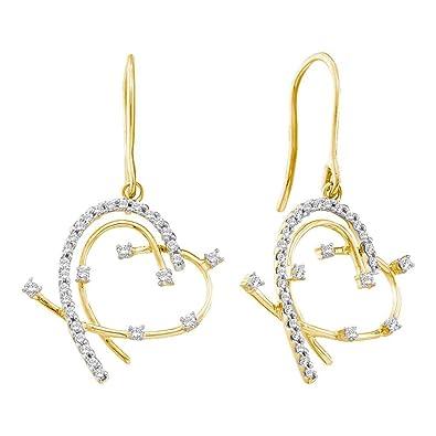 14 kt Gelb Gold Damen Diamant Rund Draht Herz Baumeln Ohrringe 1/3 ...