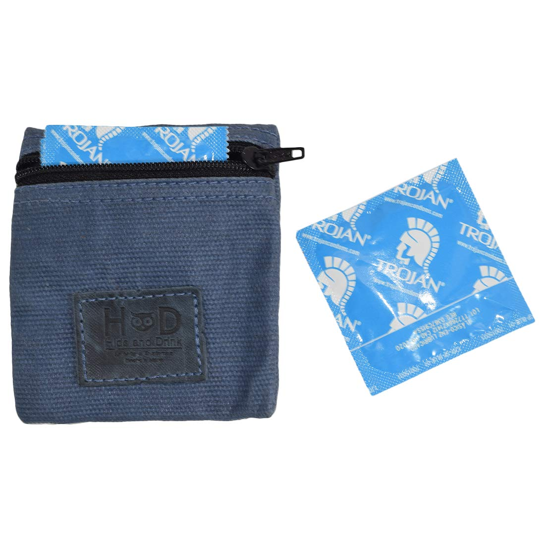 Waxed Canvas Condom Pouch/Change Valuables Pocket Tech Purse Handmade by Hide & Drink :: Blue Mar