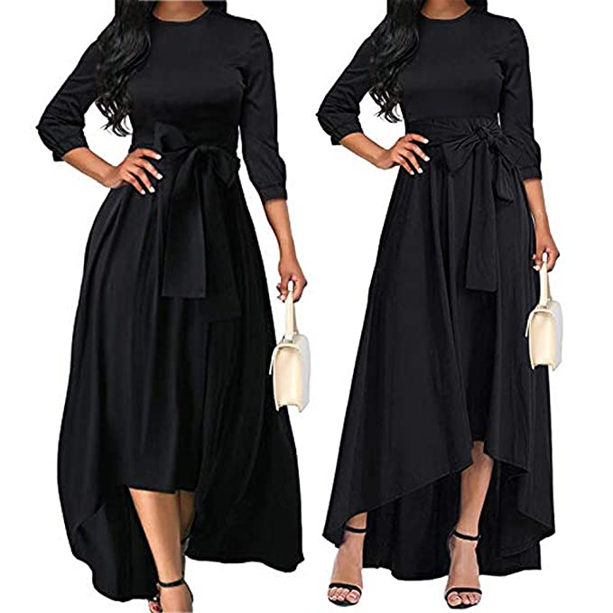 6913ee004354 Amazon.com: Tronet Sexy Dress for Ladies in usaWomen's Three Quarter Sleeve  Belt Flowy Homecoming Cocktail High Low Maxi Dress: Clothing