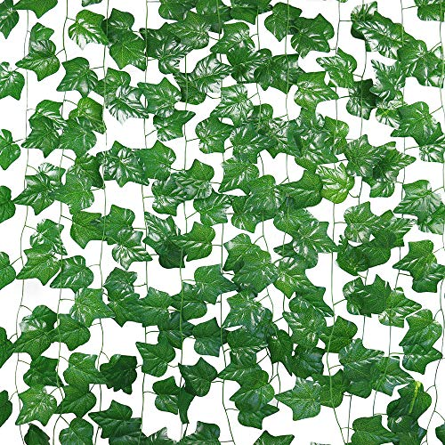 JEGONFRI 90FT-12 Pack Artificial Ivy Garland Greenery Hanging Plants Faux Green Vines Fake Leaves for Wedding Wall Décor Home Kitchen Garden Office