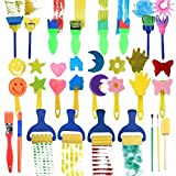 25 Pieces Kids Sponge Painting Brushes for Early Learning Mini Flower Sponge Brushes Drawing tools (multicolor)