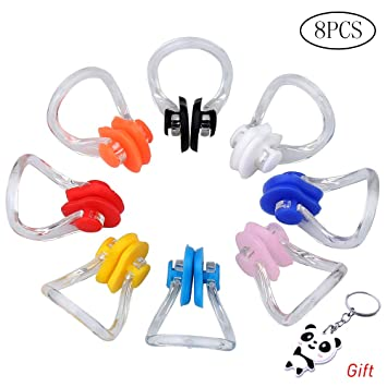 EAONE Swimming Nose Clip 10 Pieces 10 Colors Swim Protector Earplugs Silicone Soft Comfortable Latex Plugs for Adult