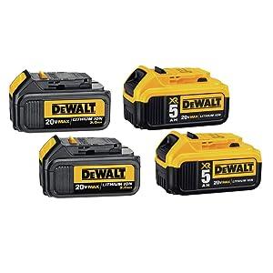 DEWALT DCB305-4 20V Max XR Lithium-Ion Premium Battery Pack with (2) 5.0Ah & (2) 3.0Ah Batteries