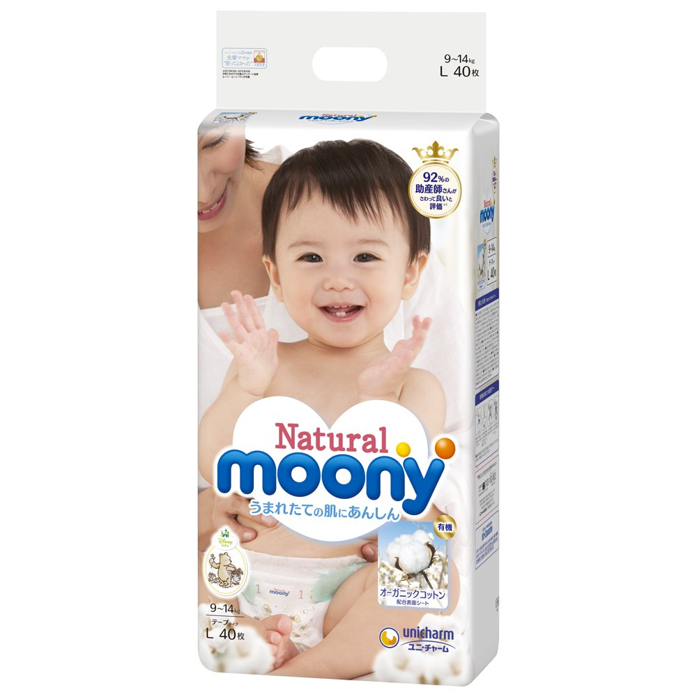 Japanese diapers Moony Natural L (9-14 kg) // Японские подгузники Moony Natural L (9-14 kg) Unicharm