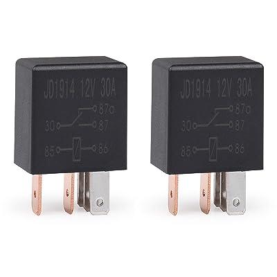Ehdis 5 Pin 12VDC 30A SPDT Multi-Purpose Relay Heavy Duty Standard Relay Kit, Pack of 2: Automotive [5Bkhe0115208]