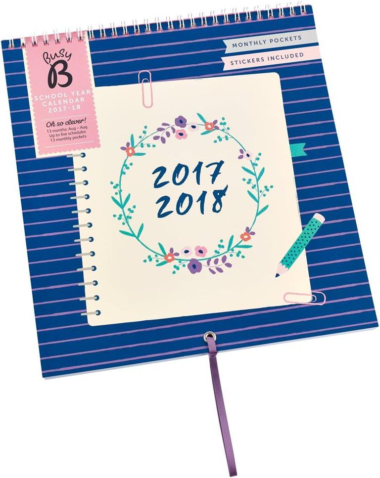 Calendario escolar 2017-18 Busy B de 13 meses con bolsillos mensuales para guardar cosas, pegatinas y espacio para hasta cinco agendas: Amazon.es: Oficina y papelería
