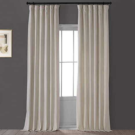 Amazon Com Hpd Half Price Drapes Vpyc 161204 96 Heritage Plush Velvet Curtain 1 Panel 50 X 96 Light Beige Home Kitchen