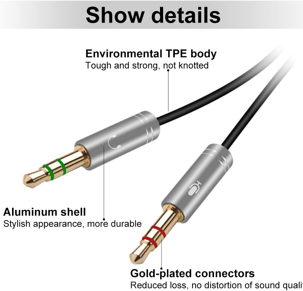Silver 30CM Yeung Qee Headphone Splitter 3.5mm Female to 2 Dual 3.5mm Male Headphone Mic Audio Y Splitter Cable for PC PS4 Gaming Headset