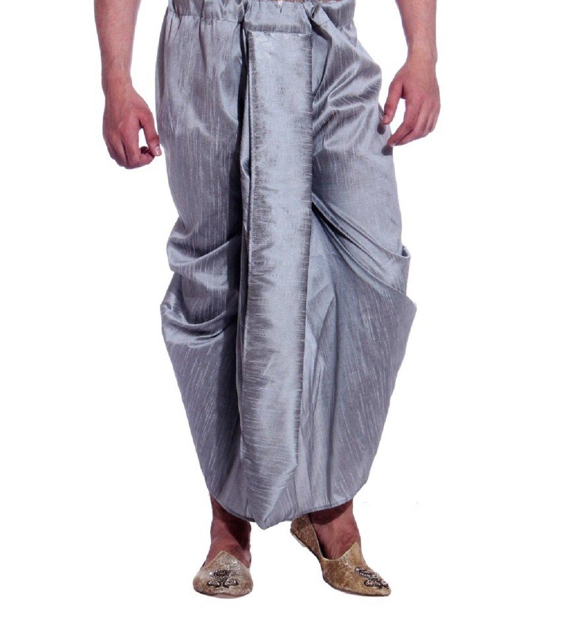 Royal Kurta Men's Art Silk Fine Quality Ready To Wear Dhoti pants Free Size Grey