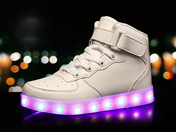 Amazon.com | Coolloog Adult High Top LED Light up 11 Colors USB Charging Flashing Sneakers for Christmas | Walking