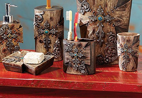 - Black Forest Decor Rustic Cross Bath Set - 3 pcs