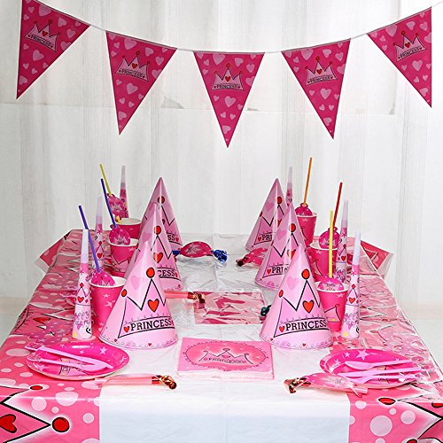 12 Sets Crown Theme Birthday Party Supplies Pack Bundle serves Plates,Cups,Napkins,Birthday Hat (Birthday Themes For 2 Year Old Boy)