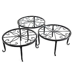 Metal 3 in 1 Potted Plant Stand Floor Flower Pot Rack/Iron Rack (Black)