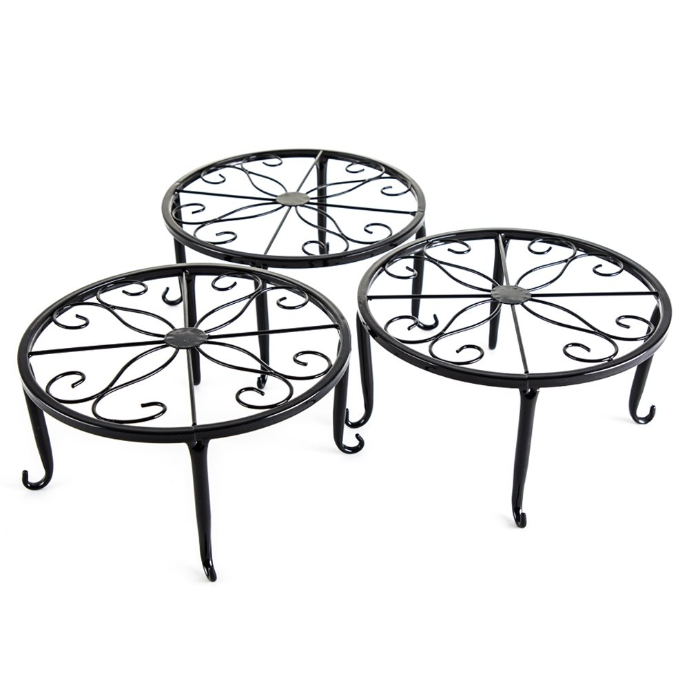 Metal 3 in 1 Potted Plant Stand Floor Flower Pot Rack/Iron Rack (Black)