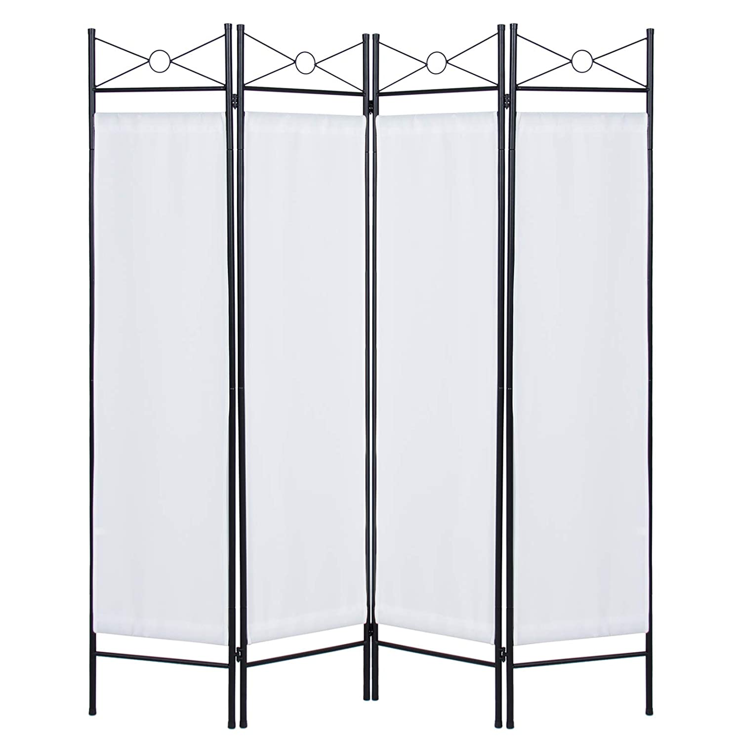 Best Choice Products 6ft 4-Panel Folding Privacy Screen Room Divider Decoration Accent for Bedroom, Living Room, Office w/Steel Frame - White