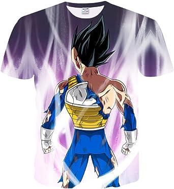CHENGNT Camisetas Dragon Ball Z Super Saiyan Goku Vegeta3D Impresión HD Unisex Pareja Moda Casual Comodidad Camiseta con Cuello En O Morado XXS: Amazon.es: Ropa y accesorios