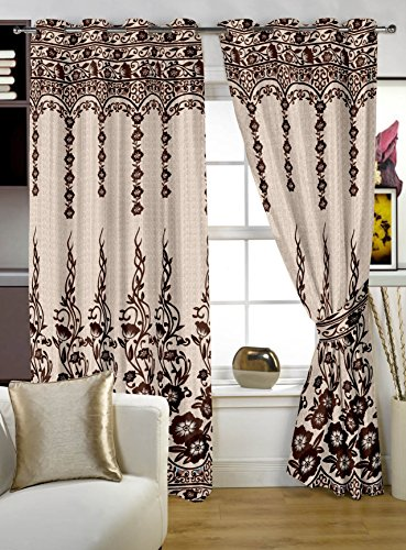 Story@Home Berry Jacquard Premium 1 Piece Window Contemporary Eyelet Curtain, 5 feet, Brown