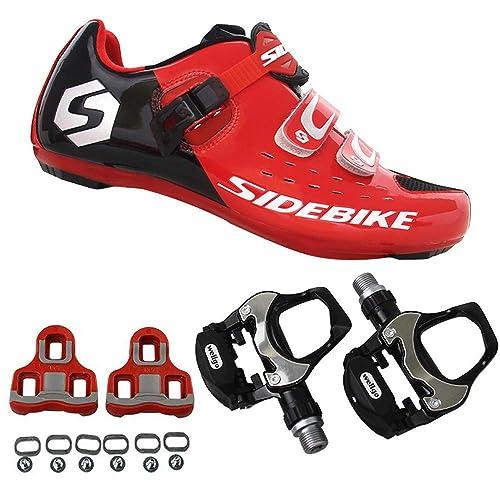 SIDEBIKE Zapatillas de Ciclismo con Pedales y Calas, Zapatos de Bicicleta de Carretera Ajustables,