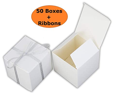 Threadnanny Small Gift Boxes Party Favor White 2 X2 X2 50 Boxes With Silver Ribbons Wedding Favor Birthday Favor Baby Shower Favor Bridal Shower