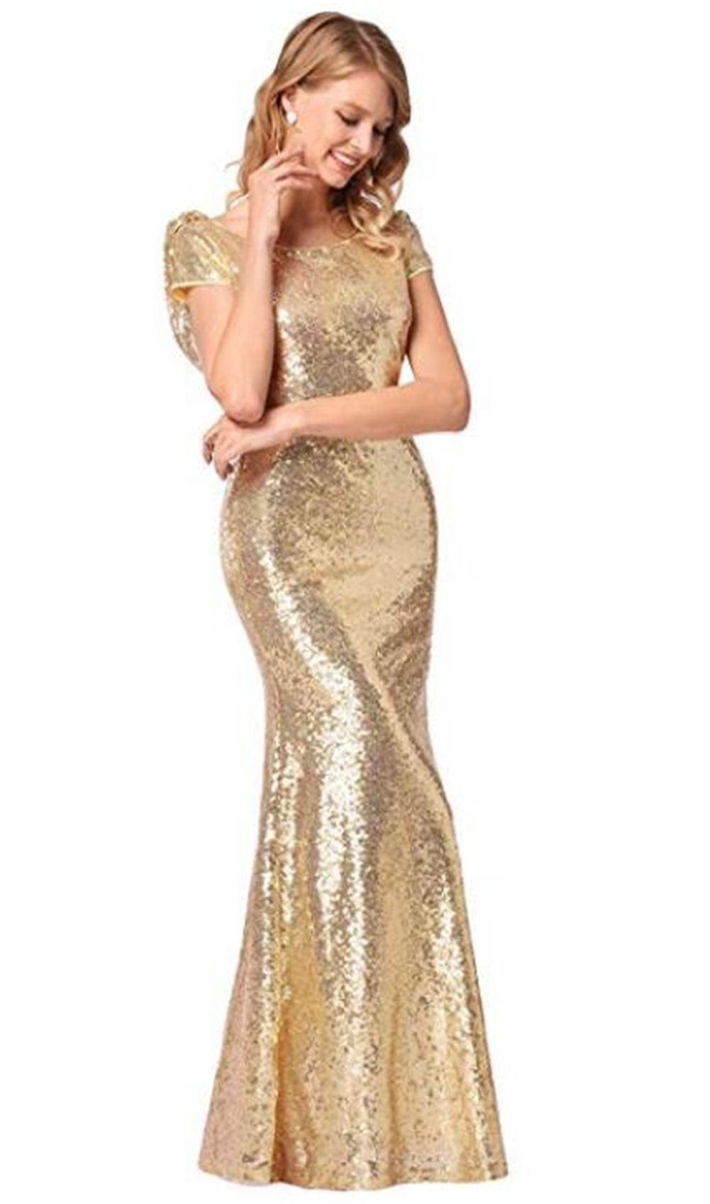 Luyeiand Rose Gold Sequin Bridesmaid Dresses Mermaid Sparkly Backless Wedding Party Gown,Gold,Large