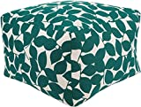 Surya Country & Floral Square pouf/ottoman 22''x22''x14'' in Teal Color From Magnolia Collection