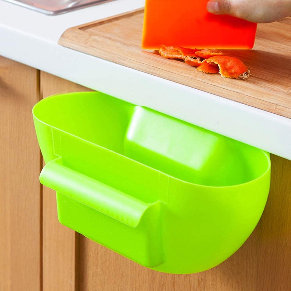 yHRgETLD Convenient Kitchen Cabinet Hanging Trash Bin Gabbage Holder Can Sundries Storage Container Space-Saving Random Color