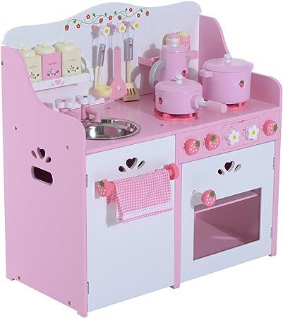 Cocinita de juguete fantástica para niños mayores de 3 años. Incluye 4 estufas de gas, 1 grifo, 1 fr