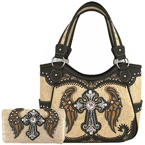 Western Rhinestone Cross Laser Cut Wings Tote Concealed Carry Purse Handbag Women Shoulder Bag Wallet Set (Beige Set) (Rhinestone Purse And Wallet Set)