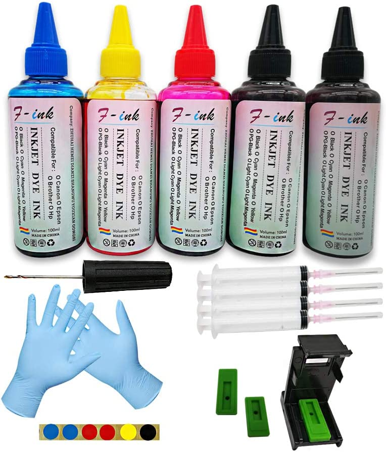 F-ink 5 Bottles Ink and Ink Refill Kits Compatible for Hp Inkjet Ink Cartridges 662XL 664XL 60XL 61XL 62XL 63XL 64XL 65XL 92XL 94XL 901XL-Ink Tools for Reuse The Cartridge