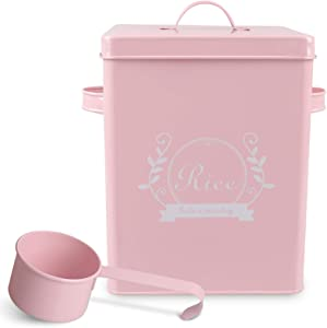 PAOPASE Square Metal Rice Flour Food Sundries Kitchen Storage Tin Canister Bucket Containers Pink