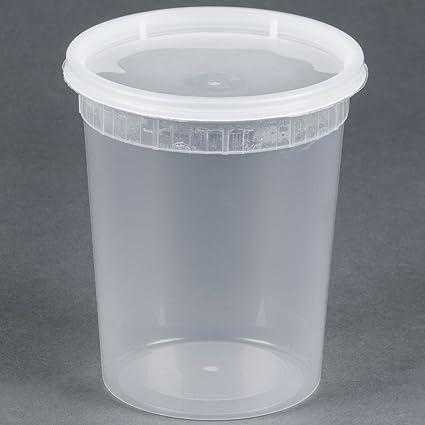 89ef1b7a7bf Amazon.com  32 oz. Microwavable Translucent Plastic Deli Containers ...