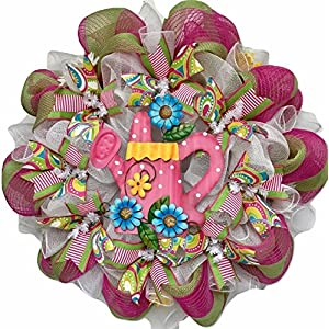 Daisy Bright Watering Can Handmade Deco Mesh Wreath 117
