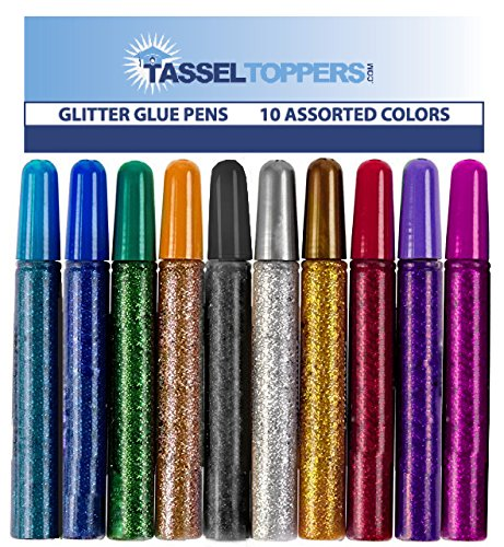 Free Glitter Pen (10 Pack - Non-Toxic Washable Glitter Glue Stick Set, Glitter Glue Pens for Art Projects, Grad Caps/Tassel Topper - Assorted Colors Glue Stick, Decorating Supplies, Glitter Pens,)