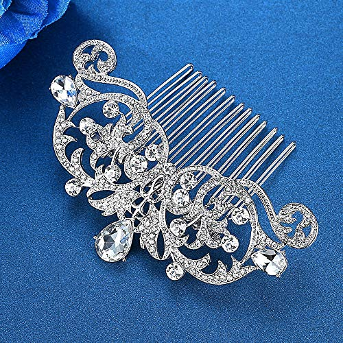 (Mecresh Wedding Hair Piece Austria Crystal Owl Eye Bridal Hair Comb Prom Pageant Party)